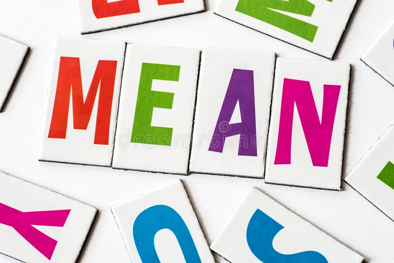 Word mean made of colorful letters. On white background stock photo