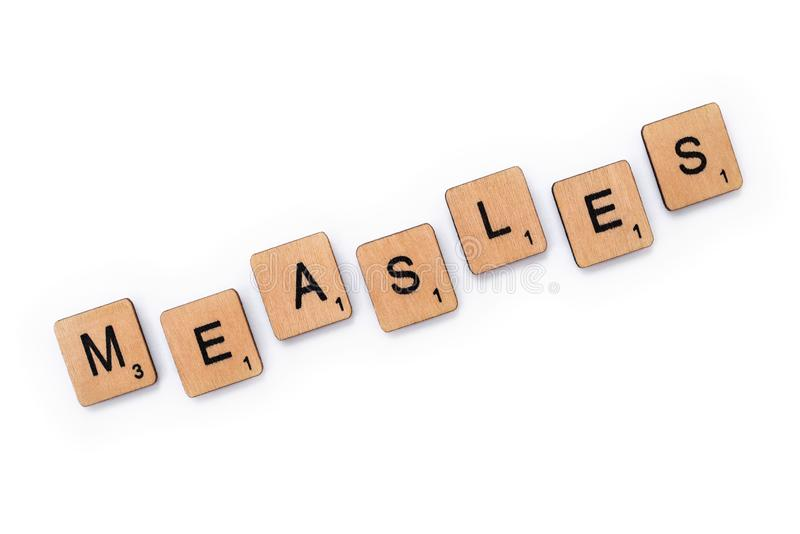 The word MEASLES stock image