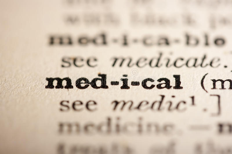 Word medical. From the old dictionary, a close up stock image