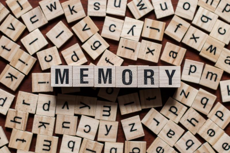 The word of MEMORY on building blocks concept royalty free stock images