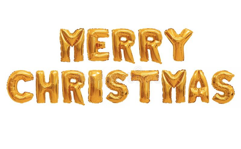 Merry christmas. Word merry christmas in english alphabet from orange balloons on a white background. holidays and education royalty free stock photos