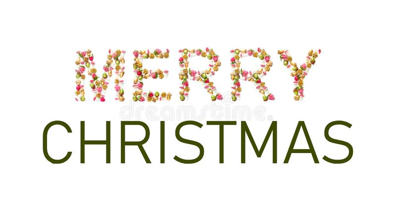 Word merry Christmas. holiday concept. symbol letters collected from the decor - acorns, cones, berries and mushrooms. horizontal. Banner, card, creative layout stock photography