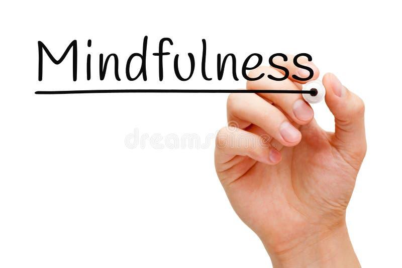 Word Mindfulness Met de hand geschreven met Zwarte Teller stock afbeeldingen