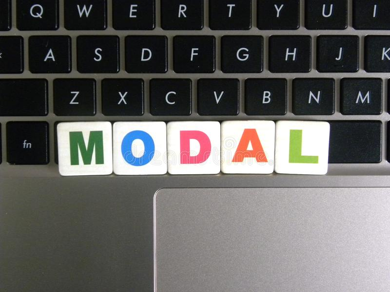 Word Modal on keyboard background.  royalty free stock photos