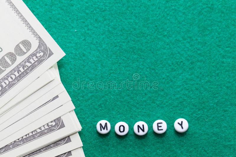 Word `money` with poker chips and money royalty free stock images