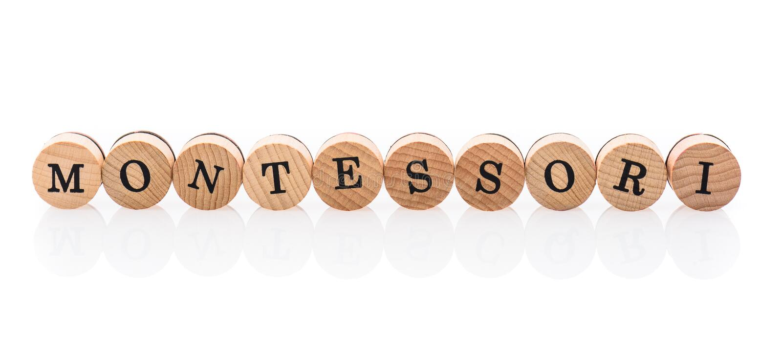 Word Montessori from circular wooden tiles with letters children toy. royalty free illustration