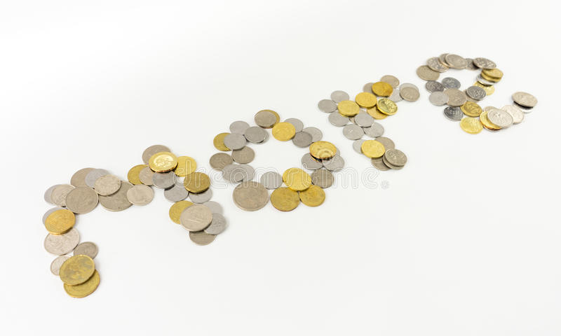 Word More using Malaysia Coins. Malaysia coins isolated on the white background stock image