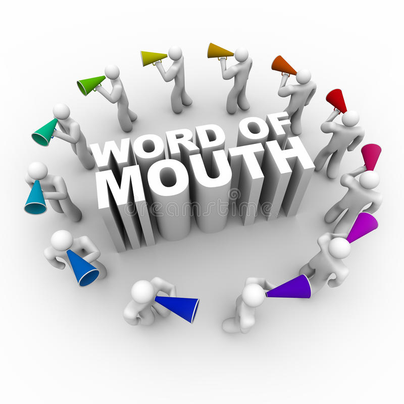 Word of Mouth - People with Bullhorns vector illustration