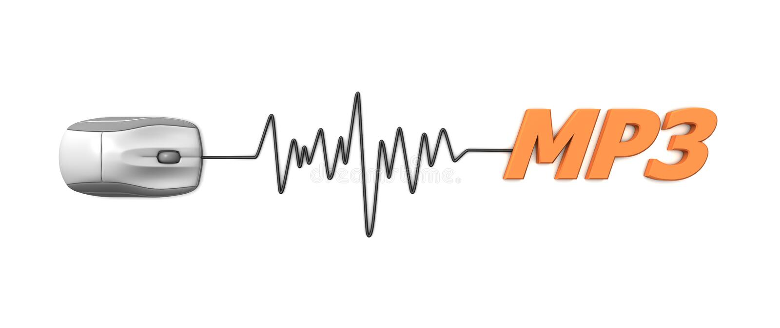 Word MP3 with Grey Mouse. Grey computer mouse connected to the orange word MP3 via sine waveform cable vector illustration