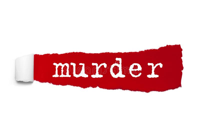 Word Murder written under the curled piece of Red torn paper. Concept Image stock illustration