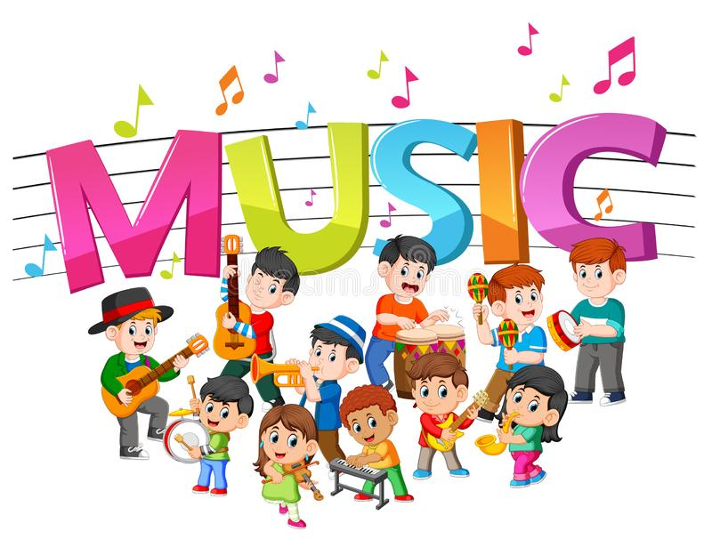 Word music with group band playing music. Illustration of word music with group band playing music stock illustration