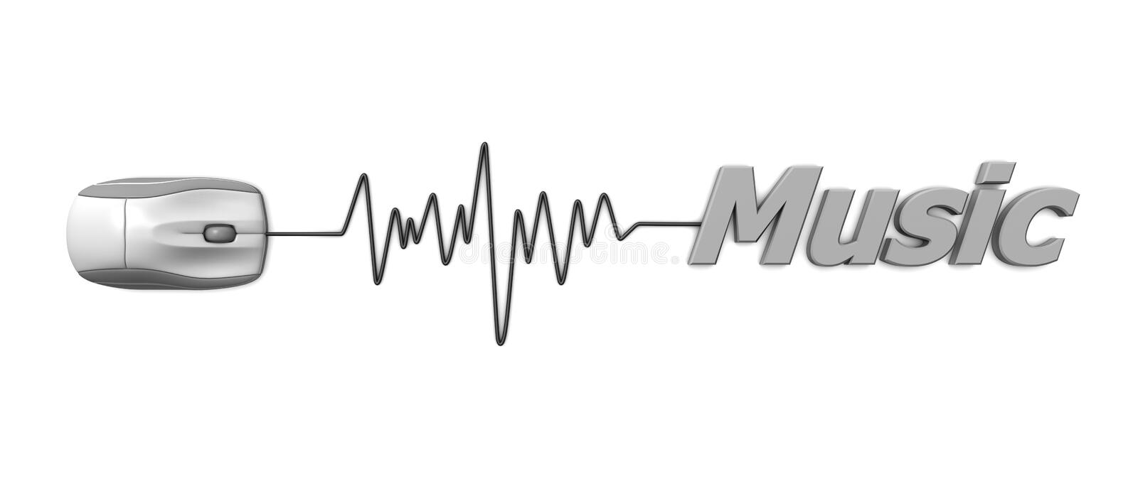 Word Music with Mouse � Grey. Computer mouse connected to the word music via sine waveform cable � orange stock illustration