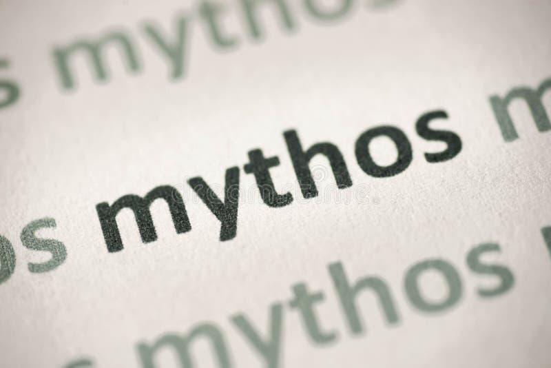 Word mythos op document macro wordt gedrukt die stock fotografie