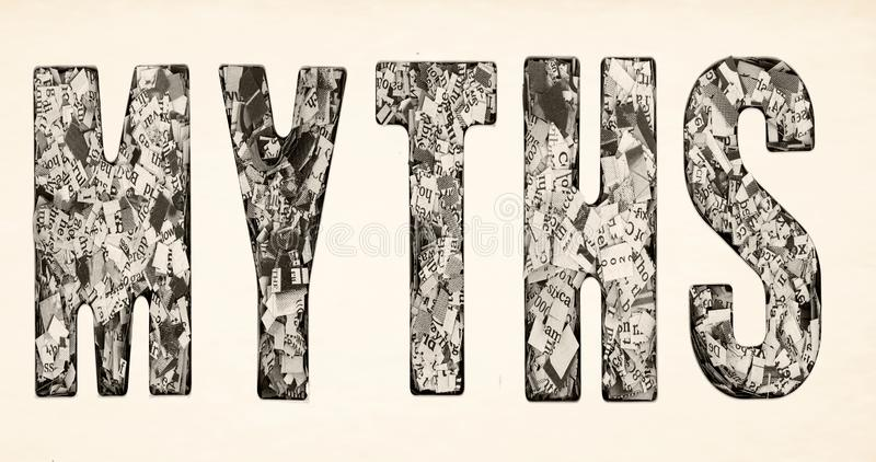 The word  MYTHS made up of lots of cut up newspaper  i royalty free stock image