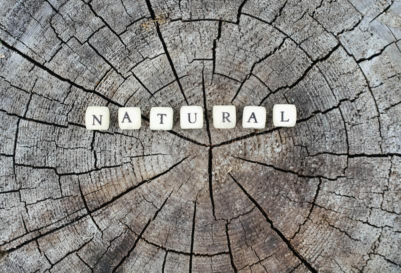 Word natural of alphabet beads on a tree stump in the forest. Word natural of wooden alphabet beads on a tree stump surface in the forest royalty free stock image