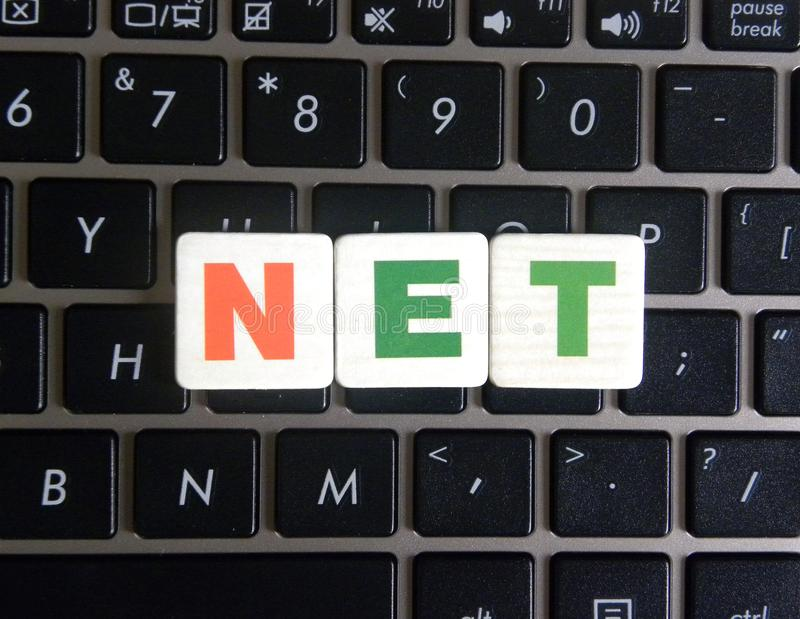 Word Net on keyboard background royalty free stock photos