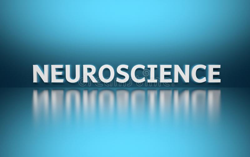 Word Neuroscience on blue background royalty free illustration