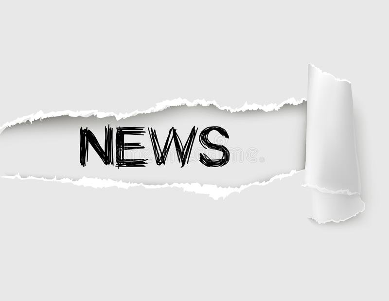 The word NEWS appearing behind white torn paper royalty free stock image