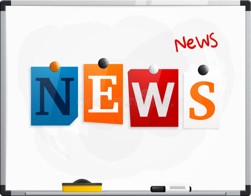 The word News made from newspaper letters attached to a whiteboard or noticeboard with magnets. Marker pen. Vector. The word News made from newspaper letters royalty free illustration