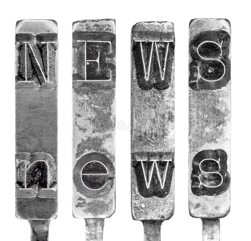 Word NEWS in Old Typewriter Typebar Letters Isolated on White. Grungy, retro typography design element. Macro shot of the word NEWS on vintage typewriter type royalty free stock photography