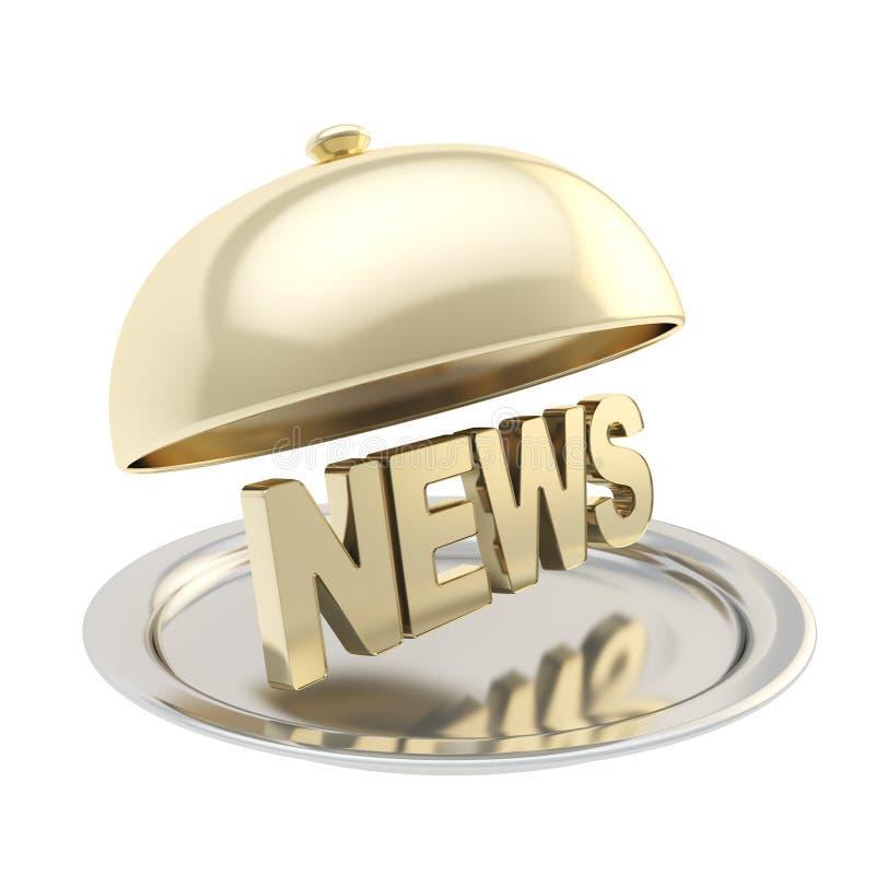 Word Nieuws op presenteerbladplaat onder de voedseldekking stock illustratie