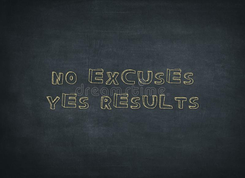 The word No Excuses crossed out on a backboard and replaced with the word Yes Results royalty free stock images