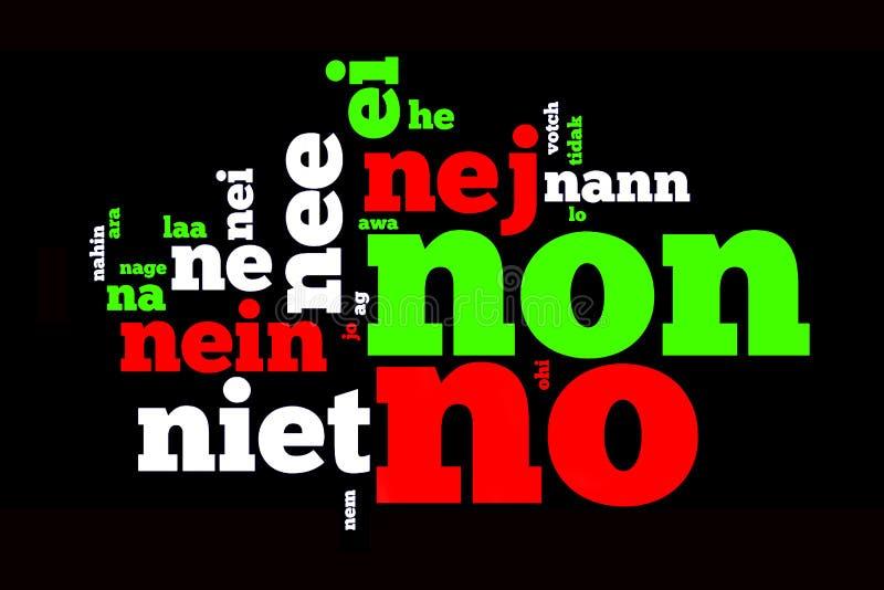 Word Nr, in vele talen, op zwarte wordt vertaald die stock fotografie