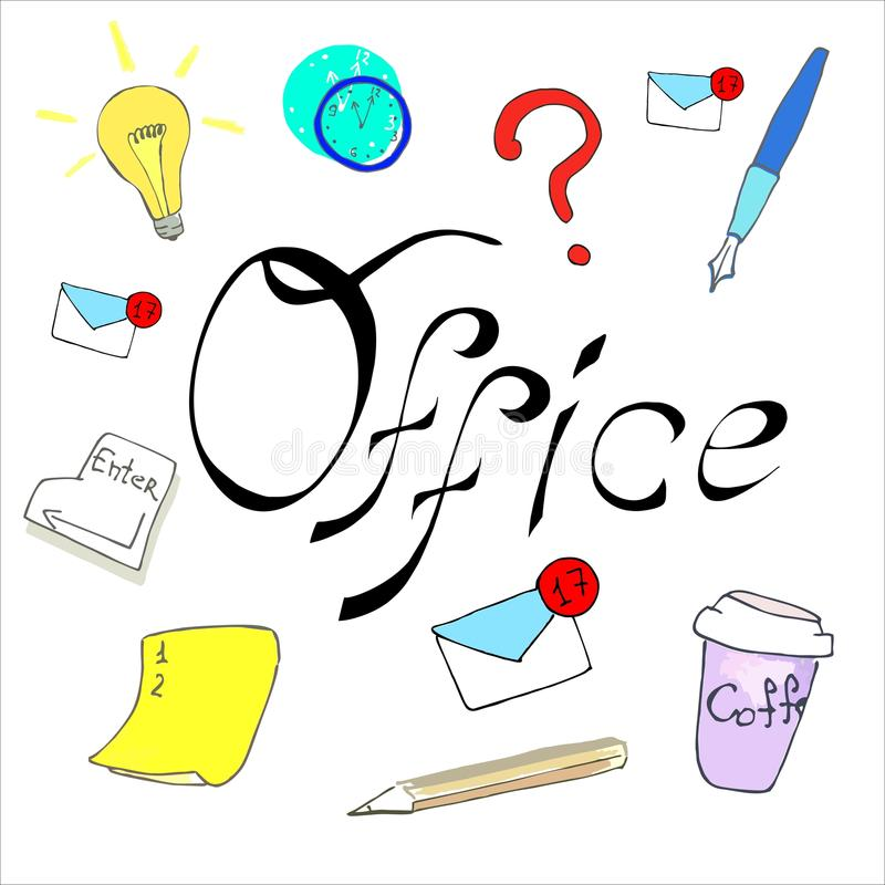 Word office calligraphy and art royalty free stock photo