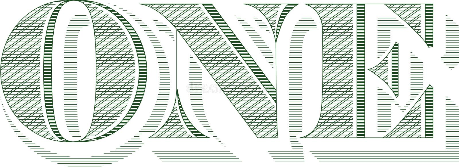 The word ONE from a bill. The word ONE from a dollar bill isolated on a white background. Also in vector format