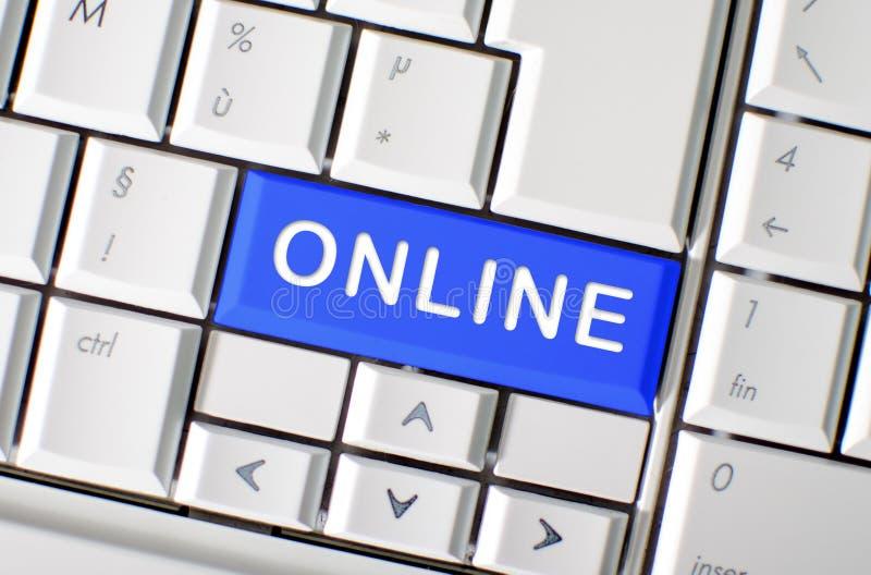 Word online op de sleutel van het computertoetsenbord stock fotografie