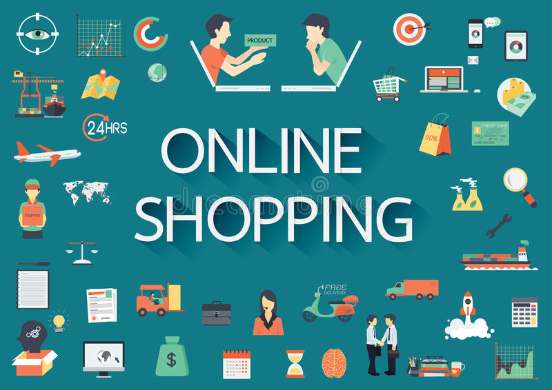 Word ONLINE SHOPPING with big set of involved flat icons around. stock illustration