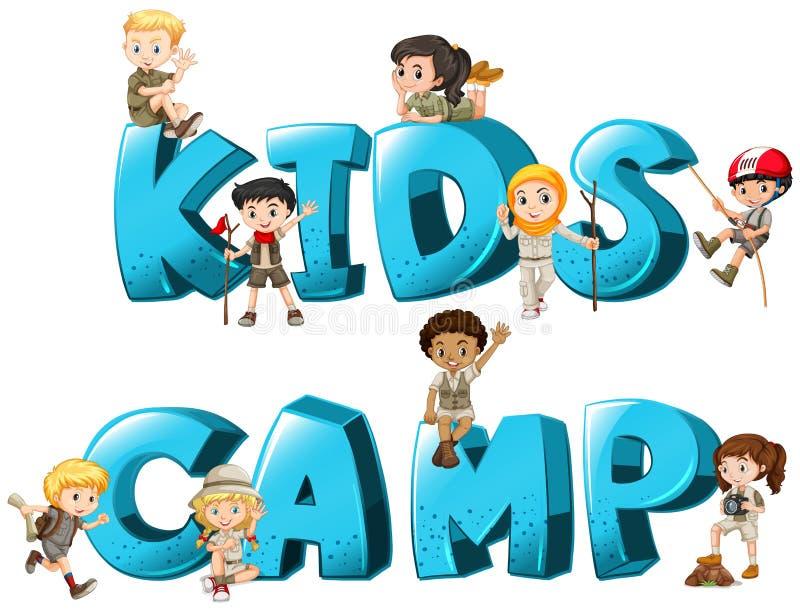 Word ontwerp met kid& x27; s kamp stock illustratie