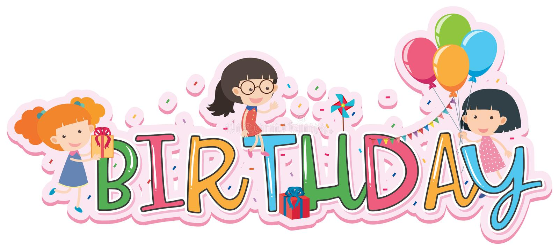 Word ontwerp voor verjaardag stock illustratie