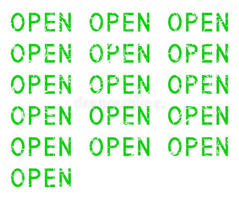 Word OPEN reeks, grunge groene die tekst, op witte achtergrond, illustratie wordt geïsoleerd royalty-vrije illustratie