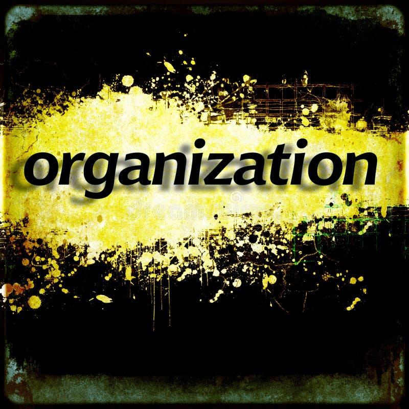 Word ` organisatie ` op zwarte en gele grungeachtergrond royalty-vrije illustratie