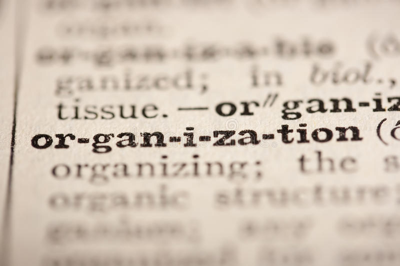 Word organization. From the old dictionary, a close up royalty free stock photo