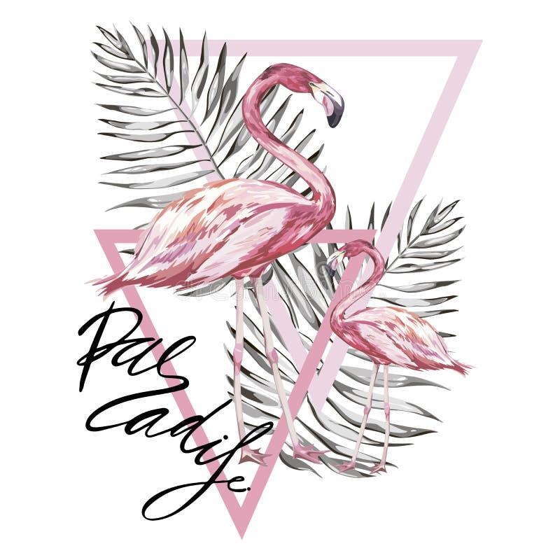 Word Paradijs Flamingo met tropische bloemen Element voor ontwerp van uitnodigingen, filmaffiches, stoffen en andere royalty-vrije illustratie