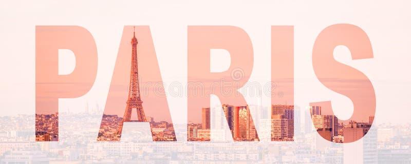 Word Parijs, van Frankrijk en van Europa het concept van de stadsreis stock foto