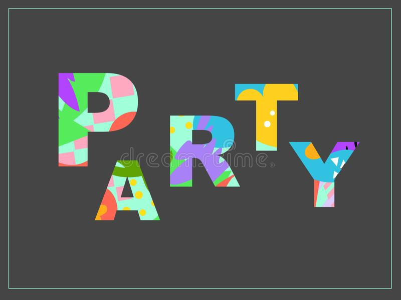 Textural word. Word Party with bright abstract texture. Design inscription for invitations, advertisements, ads and other typography royalty free illustration
