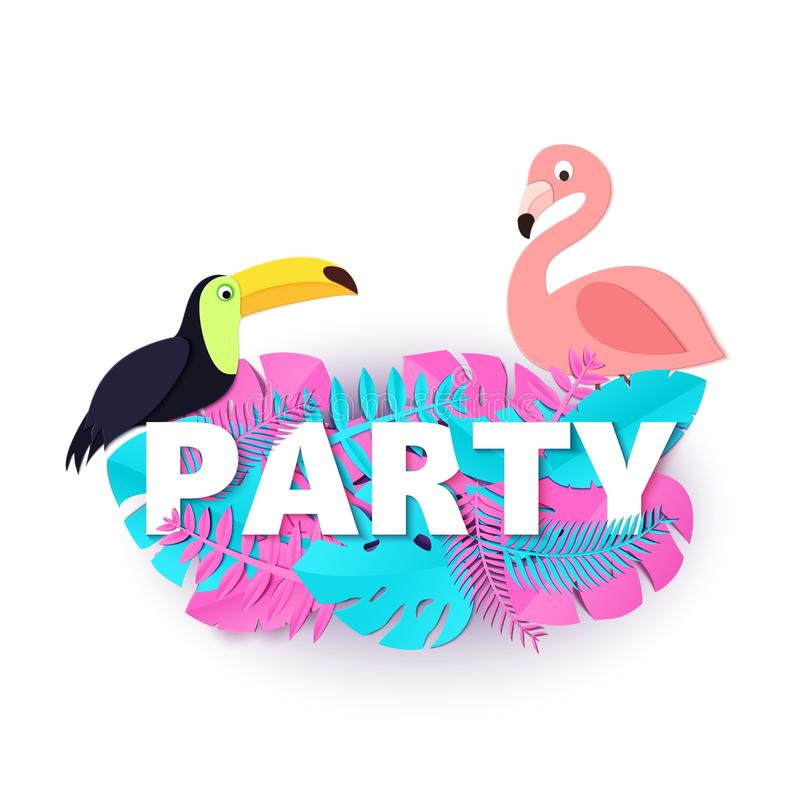 Word PARTY composition with pink blue leaves toucan flamingo white background in paper cut style. Tropical birds leaf stock illustration