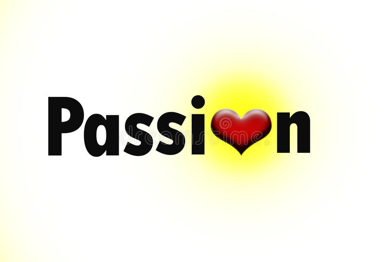 Download Word Passion With A Glowing Heart Stock Illustration - Illustration of love, innovation: 25636045