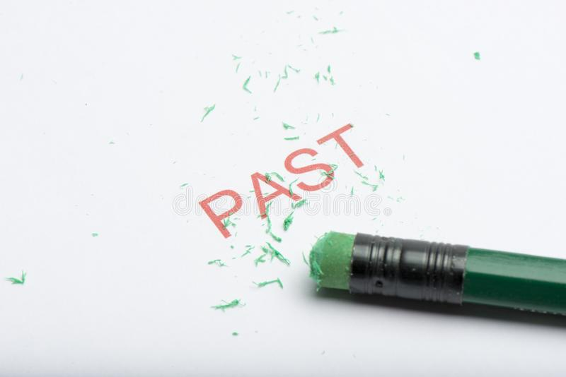 Word `Past` with Worn Pencil Eraser and Shavings royalty free stock photography