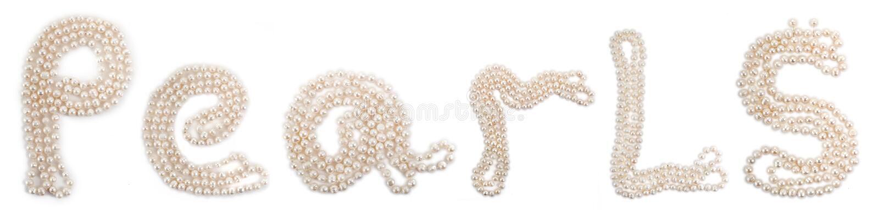 Word Pearls set of perls royalty free stock image