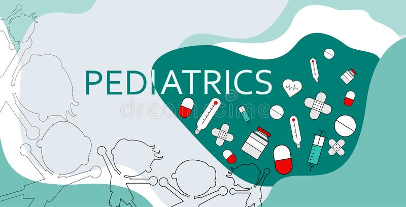 Word pediatrics with healthcare icons, including a pill and medicine bottles, drugs, syringes, hearts and Adhesive bandage royalty free illustration