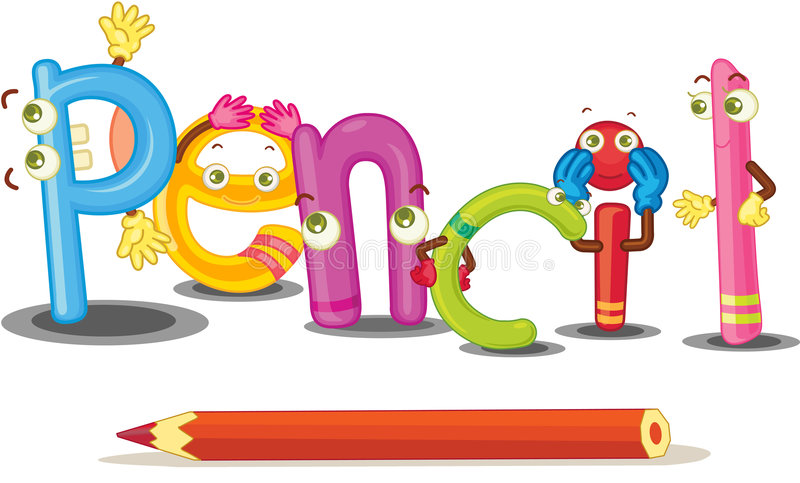The word pencil stock illustration