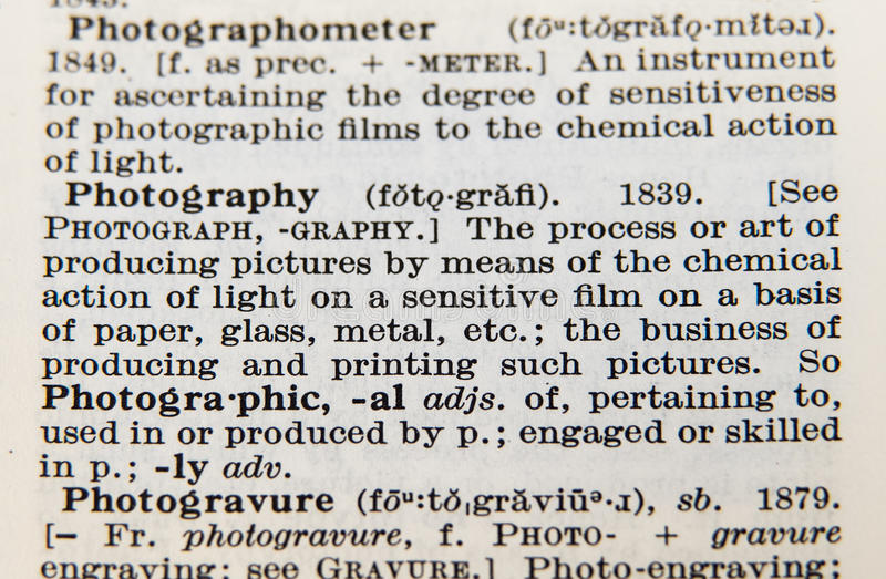 Word Photography On An Old Dictionary Page Stock Photo