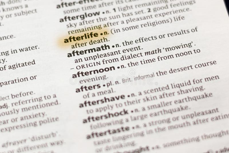 The word or phrase Afterlife in a dictionary. Highlighted with marker royalty free stock photos