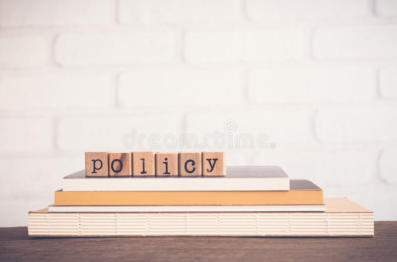 The word Policy and blank space background. stock image