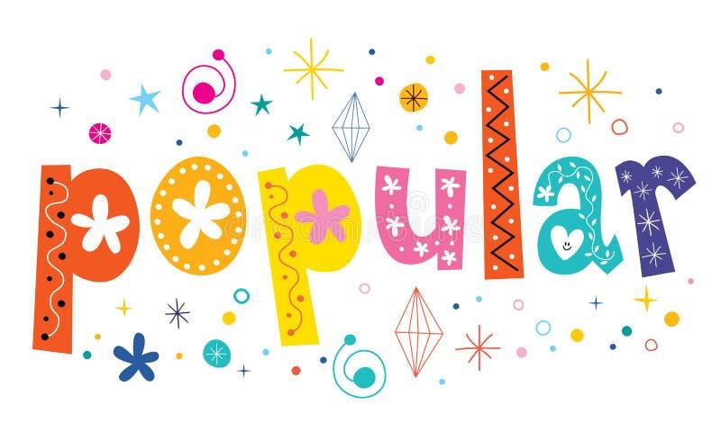 Word popular text decorative lettering stock illustration