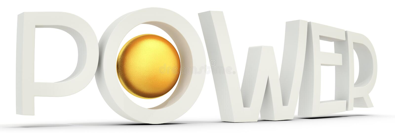 Word power with golden sphere stock illustration